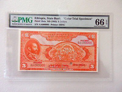 Ethiopia 1945 State Bank of Ethiopia $5, P-13cts Trial Color PMG Gem Unc 66 EPQ