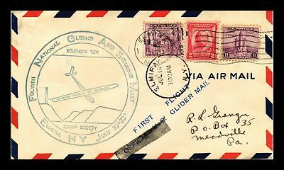 Dr Jim Stamps Us Elmira Glider Air Meet Air Mail Event Cover Sticker On Back