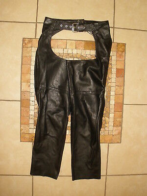 Mens FIRST FMC Genuine LEATHER MOTORCYCLE BIKER riding pants CHAPS XXS