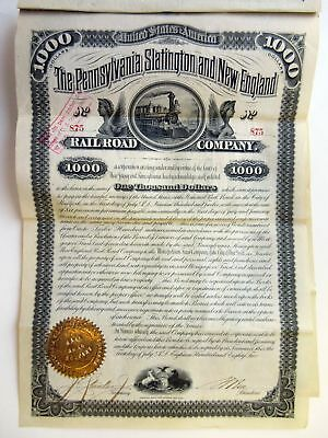 PA. Pennsylvania, Slatington & New England Rail Road Co 1882 I/U $1000 Coup Bond