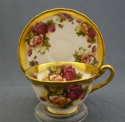 Royal Chelsea England Bone China GOLDEN ROSE Tea Cup & Saucer Duo Set Heavy Gold