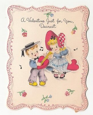Vintage Greeting Card Valentine Cute Children Hallmark 1940s