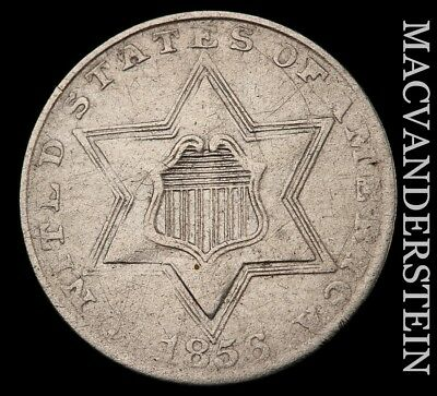 1856 Three Cent Silver - High Grade!!  Lustrous!!  Better Date!!  #h4566
