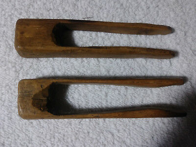 Lot of 2 Primitive Farmhouse Carved Wood Wooden Clothes Pins