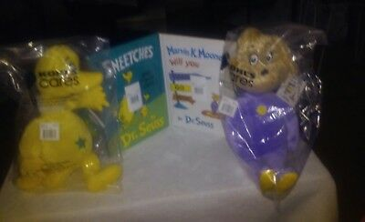 Dr Seuss Lot Kohls Cares 2 Books & 2 Plush NEW Set 4 SNEETCH  & MARVIN K MOONEY
