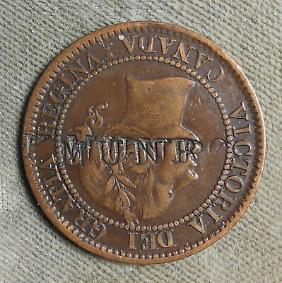 Counterstamp: -. K. MUNRO c/s On Canada 1859 Victoria Large Cent Brunk - N.L