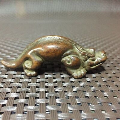Antique Rare Collectible Old Copper Handwork Cynops orientalis Chinese Statue