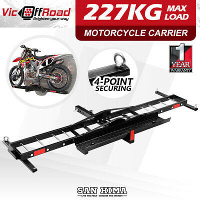 SAN HIMA Steel Motorcycle Carrier Motorbike Rack Towbar 2″ Hitch Mount with Ramp
