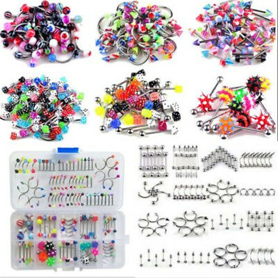 Wholesale 105pcs Lots Bulks Tongue Nose Lip Belly Navel Ring Body Piercing HOT