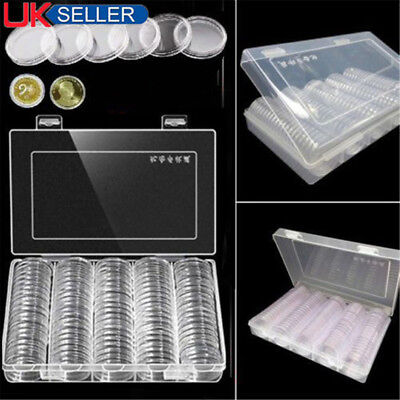 100pcs 27/30mm Clear Plastic Round Case Coin Storage Capsules Holder Round Box