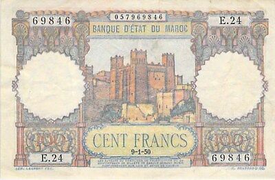 Morocco 100 Francs Note 1950 P-45 Fortress