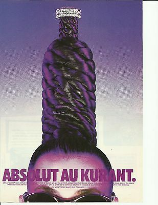 ABSOLUT AU KURANT. - 1996 hair do Absolut Vodka print ad