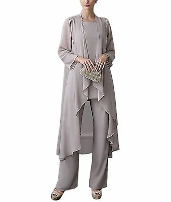 Mother of the Bride Outfits 3 Pieces Pant Suits Long Sleeves Asymmetric stock