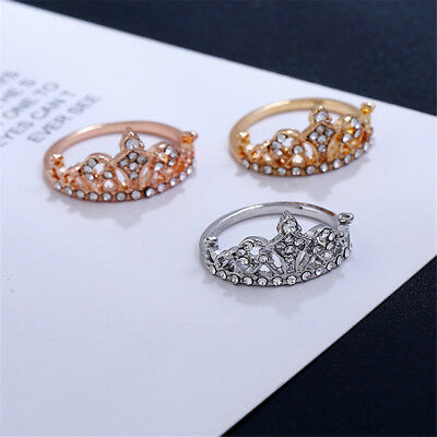 Ladies Princess Crown Rhinestone Rings Cubic Zirconia Engagement Wedding Rings Z