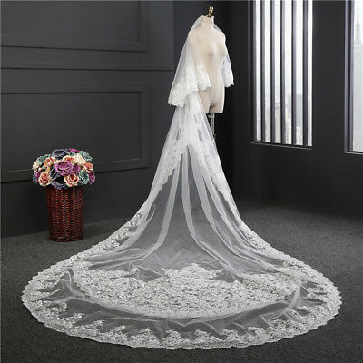 2 tier wedding veils cathedral length veil with comb white ivory long customize