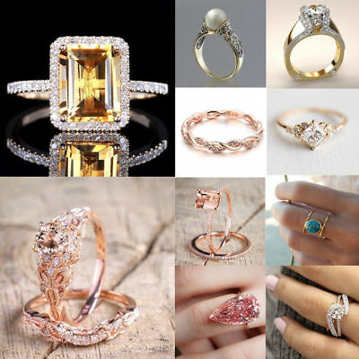 Elegant Women Zircon White Sapphire Fashion Wedding Sz 5-10 Ring Jewelry Gifts
