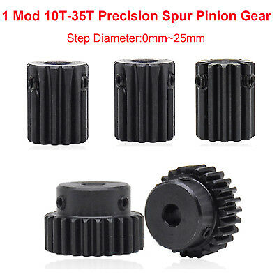 1 Mod 10T-35T Precision Spur Pinion Gear With Step 0-25mm 45# Steel Motor Gear
