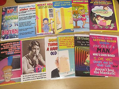 Pack of 12 Humorous Funny Birthday Cards - Male Female Quality Greetings Card