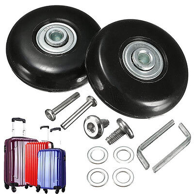 Black 2 Set Luggage Suitcase Replacement Wheels Repair OD 50mm Axles Deluxe