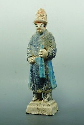 Chinese Ming Dynasty Terracotta Glazed Tomb Attendent Figure (994H)