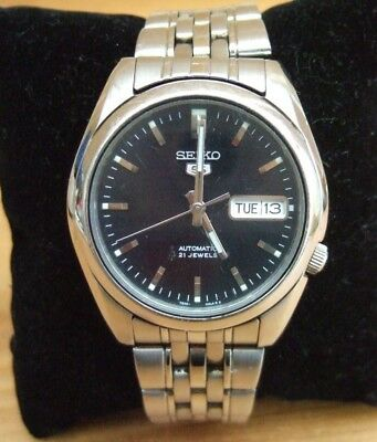Seiko 5 Automatic 21 Jewel Black Dial Stainless Steel Men's Watch SNK361K1