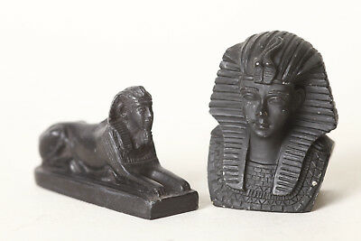 2 Kleine Egyptian Sculptures Sphinx/Pharaoh, Ca 4 x 8 u 2 13/16x2in (95846)
