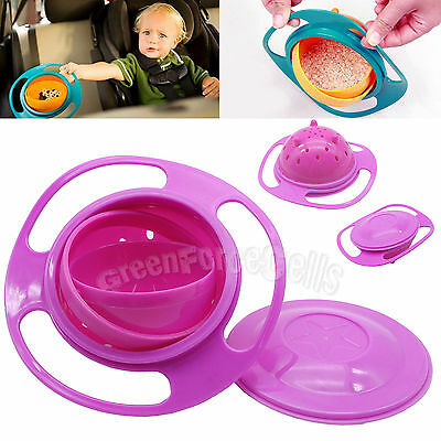 Baby Kid Food Gyro Bowl 360 Rotate Spill-Proof Non Spill Feeding Toddler Pink