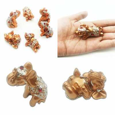 Pack Of 6 Pcs ROSE GOLD Color Lucky Elephants Statues Figurine Home Office Shop