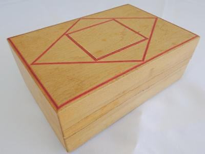 Vintage Wooden Treen & Red Stained Inlaid Trinket Jewellery Box Geometric Design