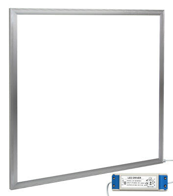48W Ceiling Suspended Recessed LED Panel 6500k Cool White 600 x 600 Silver Body