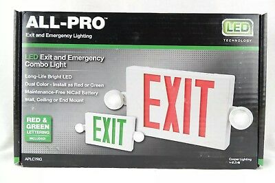 All-Pro Exit Emergency Light Hardwired Exit Sign LED Light 2 Color Red/Green