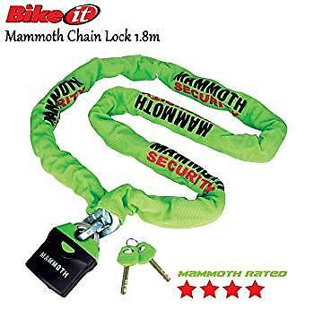 Mammoth Motorcycle / Bike 10mm Square Link 1.8m Steel Chain & Shackle Lock