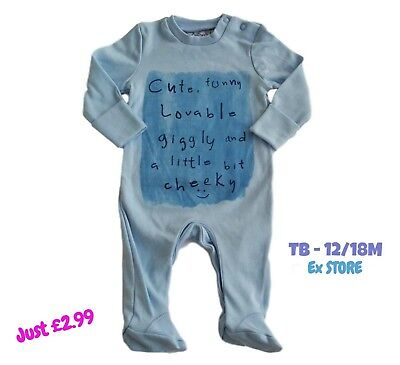 Boys Babygrow Sleepsuit Onezie Baby Grow 100% Cotton Chainstore Blue Cute NEW