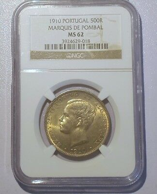 Portugal 500 Reis Silver 1910 Marques Pombal NGC MS 62