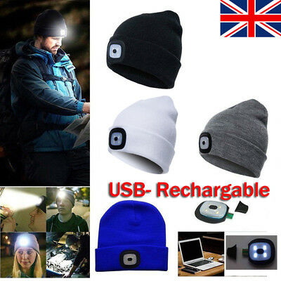 LED Beanie Hat With USB Rechargeable Battery Unisex High Powered Head Light Gift