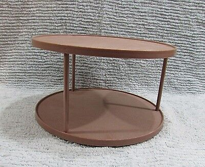 Vintage 1960's Two Tier Brown Plastic Lazy Susan Spice Shelf Old Kitchen FREE SH