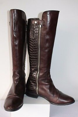 9b10cbe7e3f LADIES CLARKS LICORICE Snap Brown Combi Leather Long Boots Size UK 4 ...
