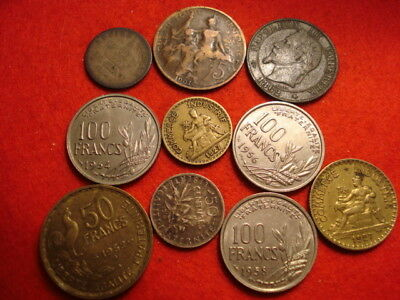 10 France Coins 1862 - 1958 (2 Silver)
