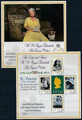[HG25607]St Vincent Grenad. 2001 QUEEN MOTHER Good set of 2 sheets very fine MNH