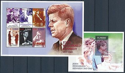 [HG25612] St Vincent Grenadines 2001 KENNEDY Good set of 2 sheets very fine MNH