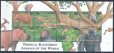 [HG25873] Guyana 2001 MONKEYS ELEPHANT LEOPARD HIPPO Good sheet very fine MNH