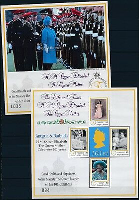[HG25877] Antigua & Barbuda 2001 QUEEN MOTHER Good set of 2 sheets very fine MNH