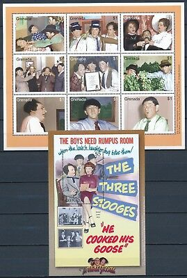 "[HG25891] Grenada 2000 ""THE 3 STOOGES"" CINEMA Good set of 2 sheets very fine MNH"