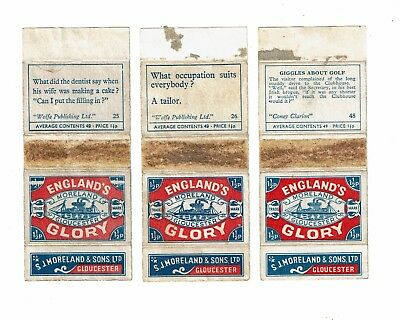 3 Old Moreland England's Glory 1900s matchbox labels What occupation.. & Sayings