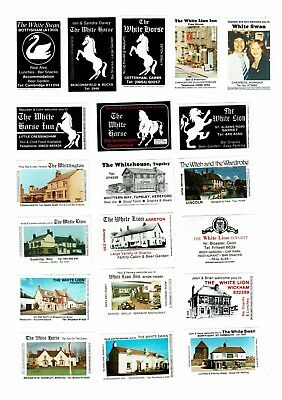 20 Bouldens Match Matchbox labels depicting Pubs & Inns The White Swan etc