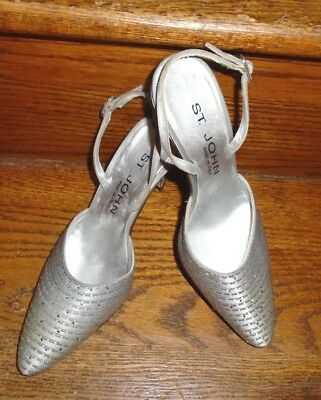 ST. JOHN~Silver Satin and Crystal Sparkle Sling Back Heels/Italy/Sz 6B/Perfect