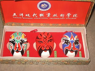 Presentation Set of 3 Beijing Opera Facial Make-Up Masks 2001 Tianjin College