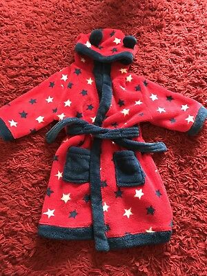 Baby Boy Red Navy White Stars Robe Dressing Gown With Hood Age 12-18 Months