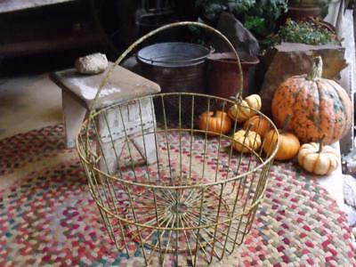 Large Old Rustic Primitive Vintage Farm Harvest Basket Shabby Deco Green & Rust