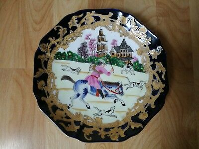 Chinese Signed Hand Painted Hunting Porcelain Plate
